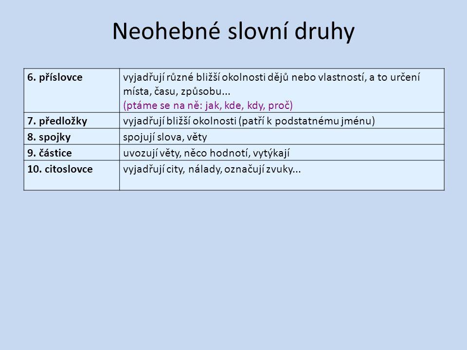 Neohebné slovní druhy 6. příslovce