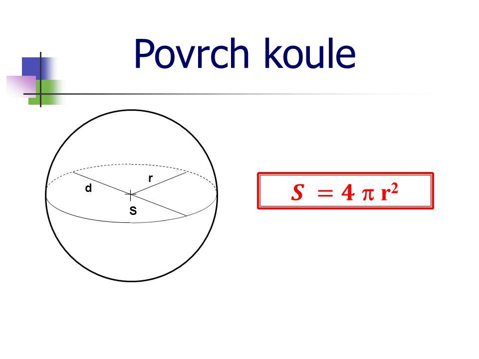 Povrch koule r 𝑺 =𝟒  r2 d S