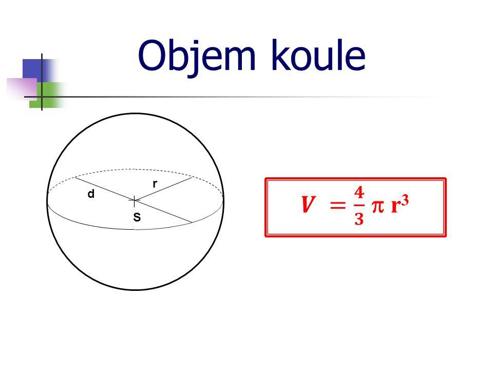Objem koule r 𝑽 = 𝟒 𝟑  r3 d S