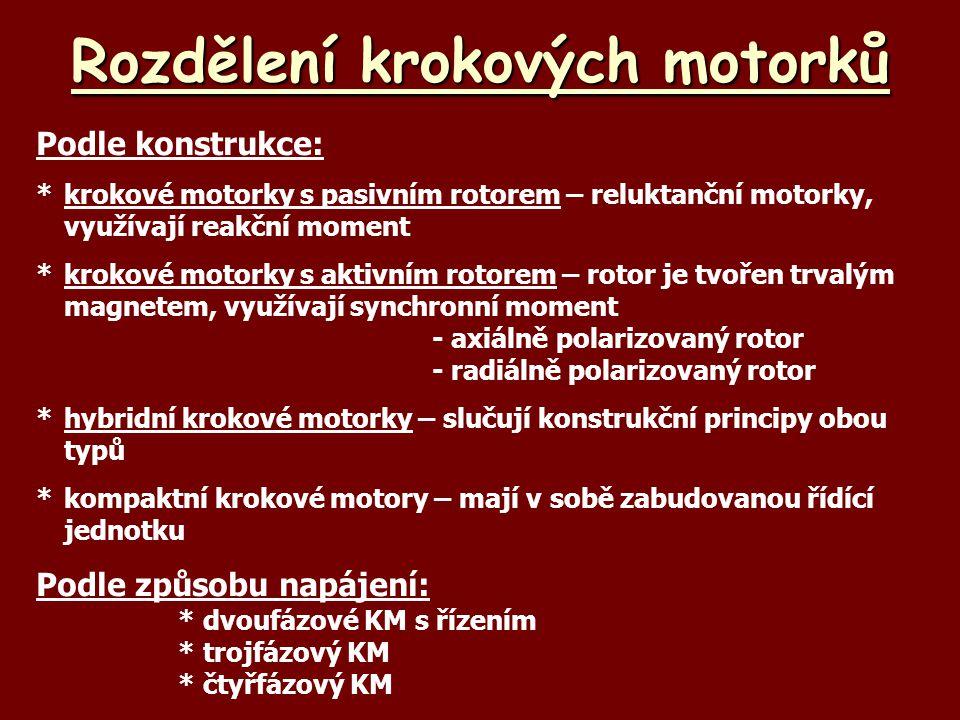 Rozdělení krokových motorků