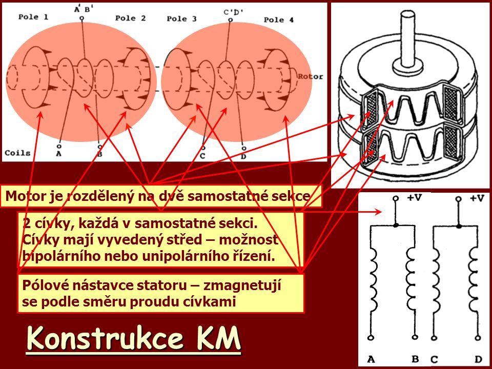 Konstrukce KM Motor je rozdělený na dvě samostatné sekce