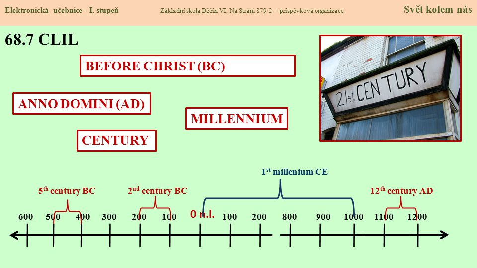 68.7 CLIL BEFORE CHRIST (BC) ANNO DOMINI (AD) MILLENNIUM CENTURY