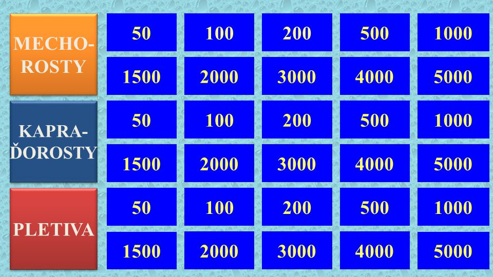 MECHO- ROSTY. 50. 100. 200. 500. 1000. 1500. 2000. 3000. 4000. 5000. KAPRA- ĎOROSTY. 50.