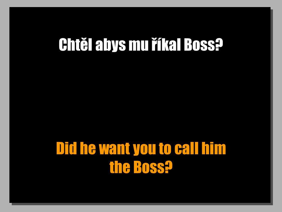 Chtěl abys mu říkal Boss