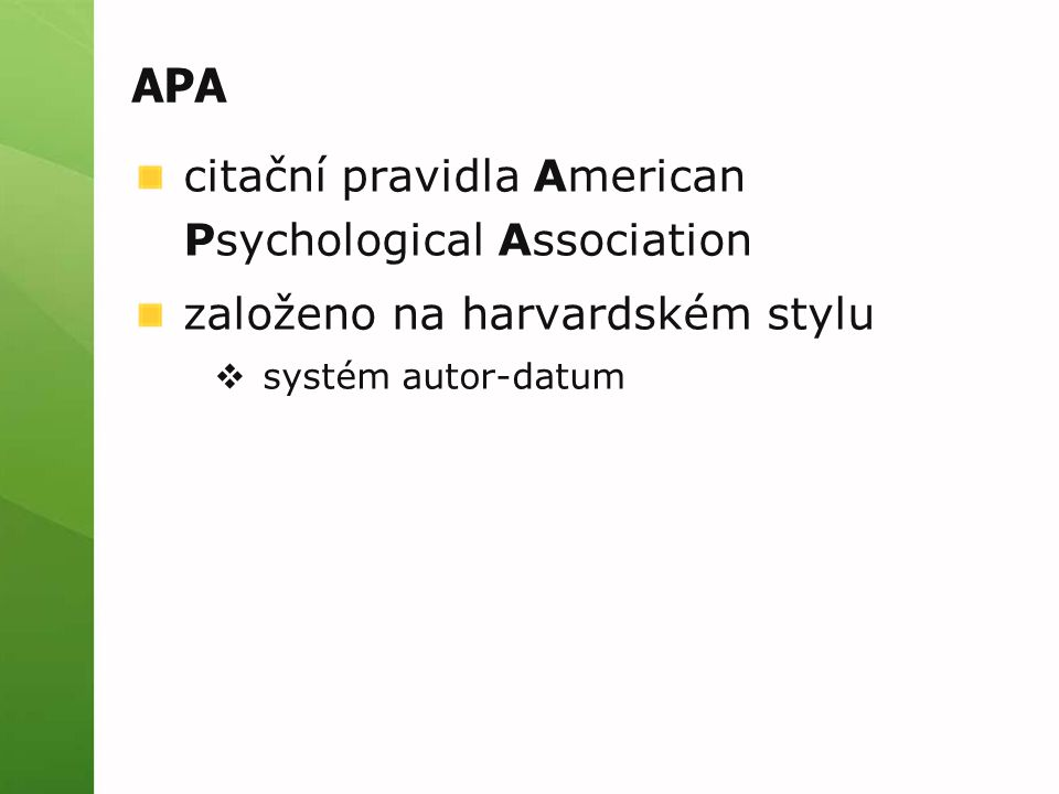 APA citační pravidla American Psychological Association
