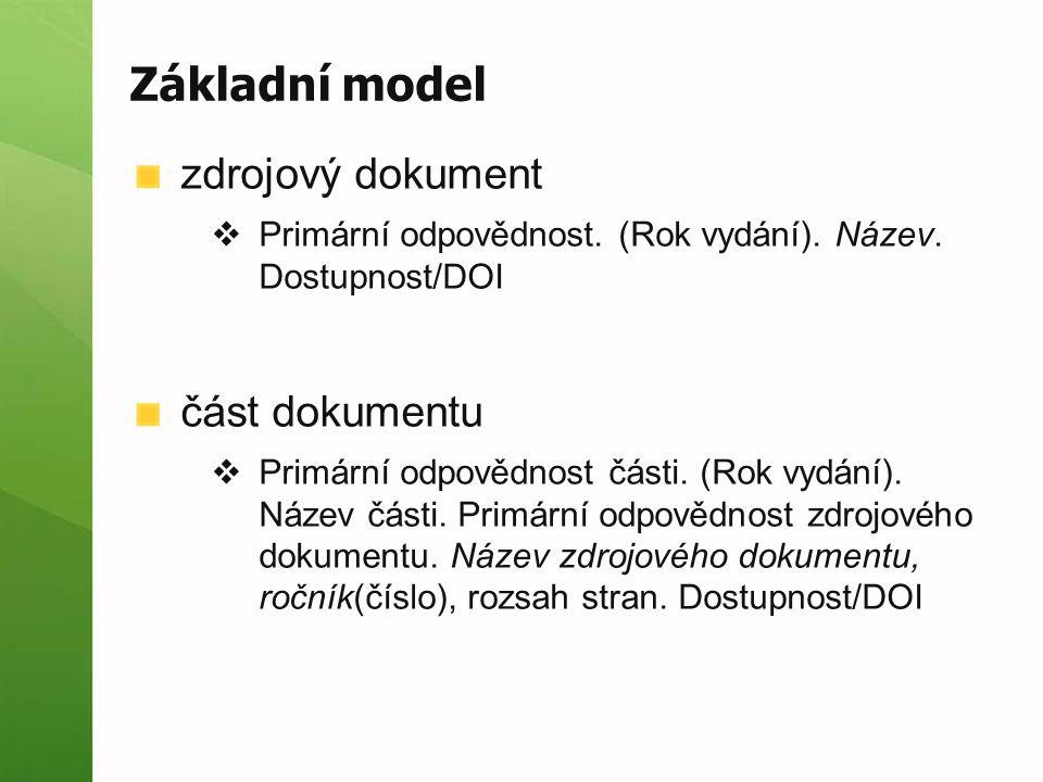 Základní model zdrojový dokument část dokumentu