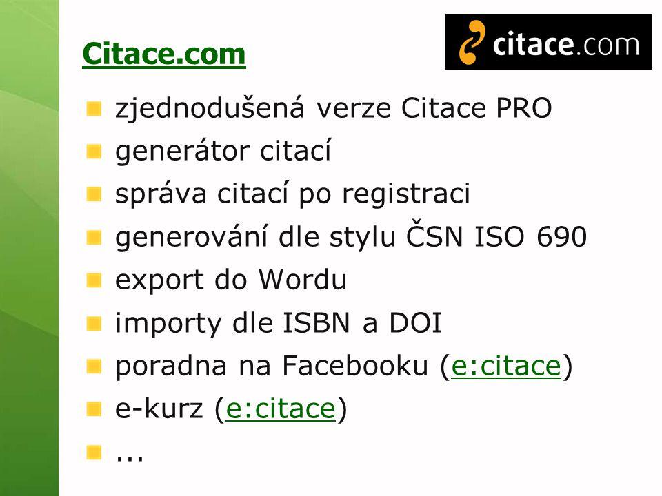 Citace.com zjednodušená verze Citace PRO generátor citací