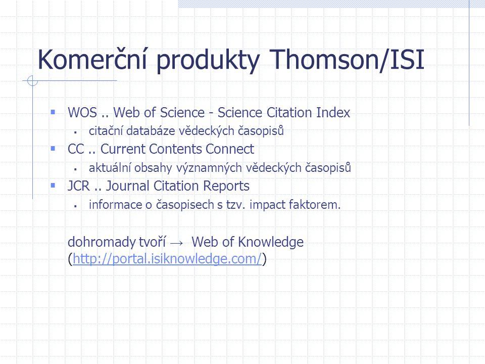 Komerční produkty Thomson/ISI