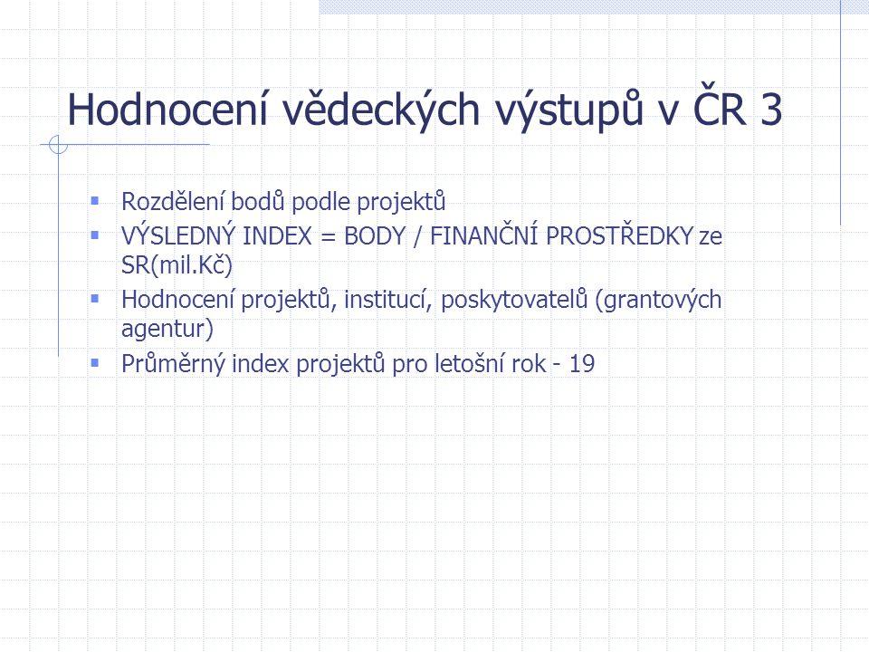 Hodnocení vědeckých výstupů v ČR 3