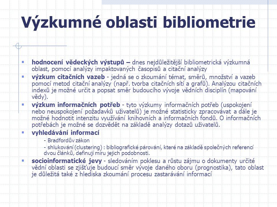 Výzkumné oblasti bibliometrie