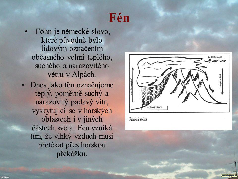 Fén Föhn je německé slovo, které původně bylo lidovým označením občasného velmi teplého, suchého a nárazovitého větru v Alpách.