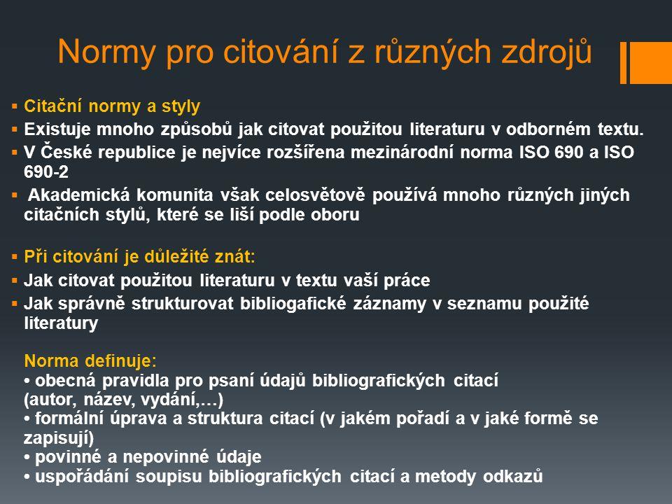 Normy pro citování z různých zdrojů