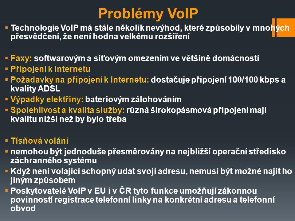 Problémy VoIP Technologie VoIP má stále několik nevýhod, které způsobily v mnohých přesvědčení, že není hodna velkému rozšíření.