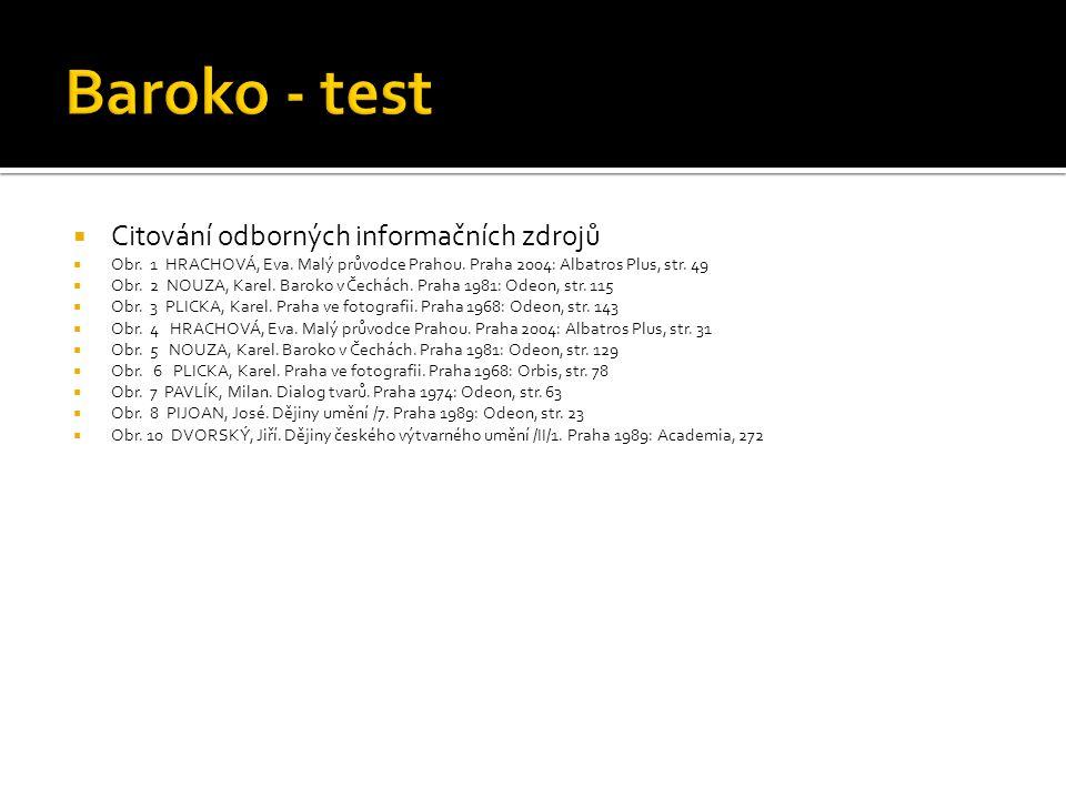 Baroko - test Citování odborných informačních zdrojů