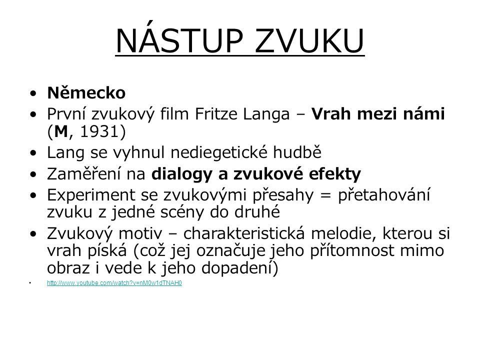 NÁSTUP ZVUKU Německo. První zvukový film Fritze Langa – Vrah mezi námi (M, 1931) Lang se vyhnul nediegetické hudbě.