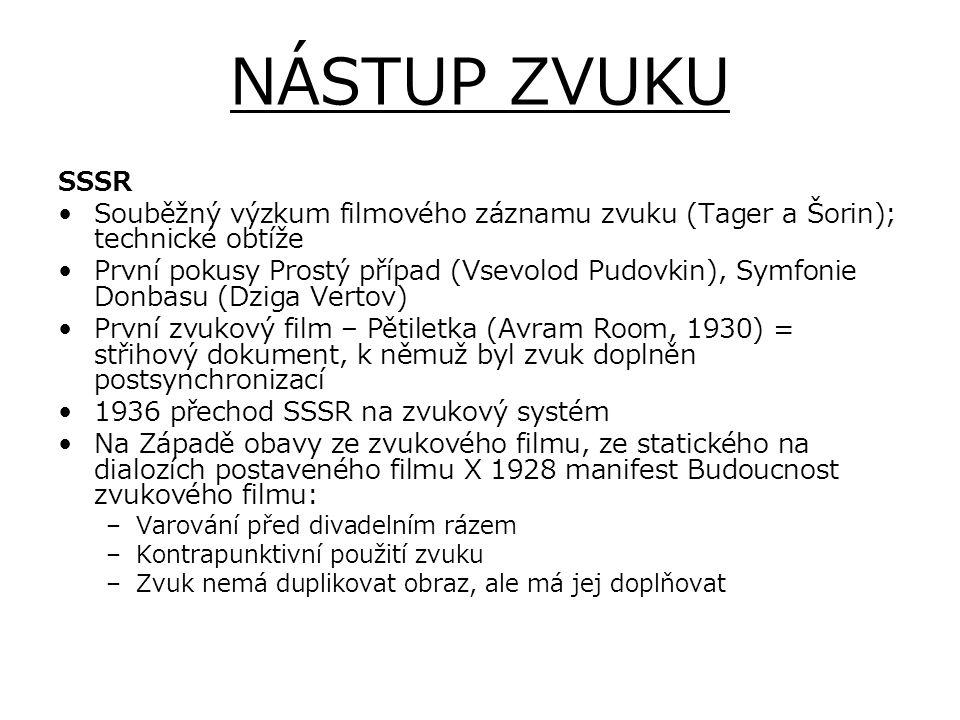NÁSTUP ZVUKU SSSR. Souběžný výzkum filmového záznamu zvuku (Tager a Šorin); technické obtíže.