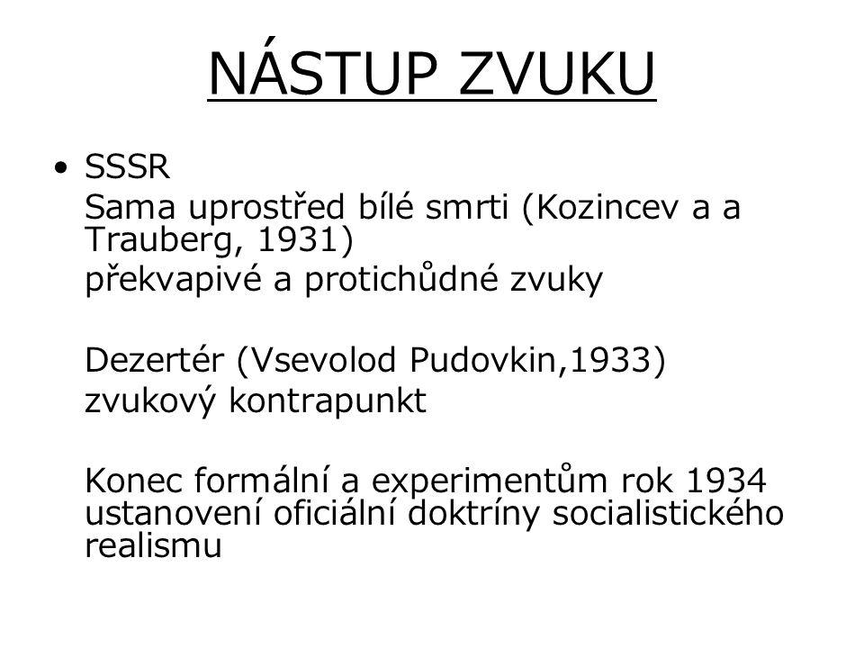 NÁSTUP ZVUKU SSSR. Sama uprostřed bílé smrti (Kozincev a a Trauberg, 1931) překvapivé a protichůdné zvuky.