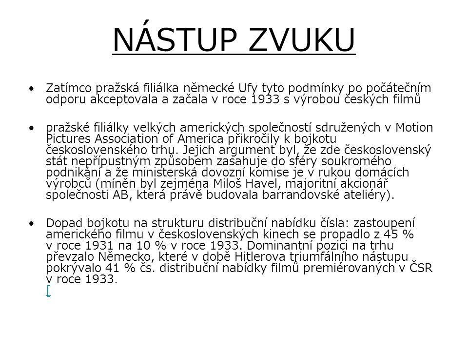 NÁSTUP ZVUKU Zatímco pražská filiálka německé Ufy tyto podmínky po počátečním odporu akceptovala a začala v roce 1933 s výrobou českých filmů.