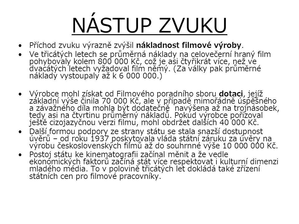 NÁSTUP ZVUKU Příchod zvuku výrazně zvýšil nákladnost filmové výroby.