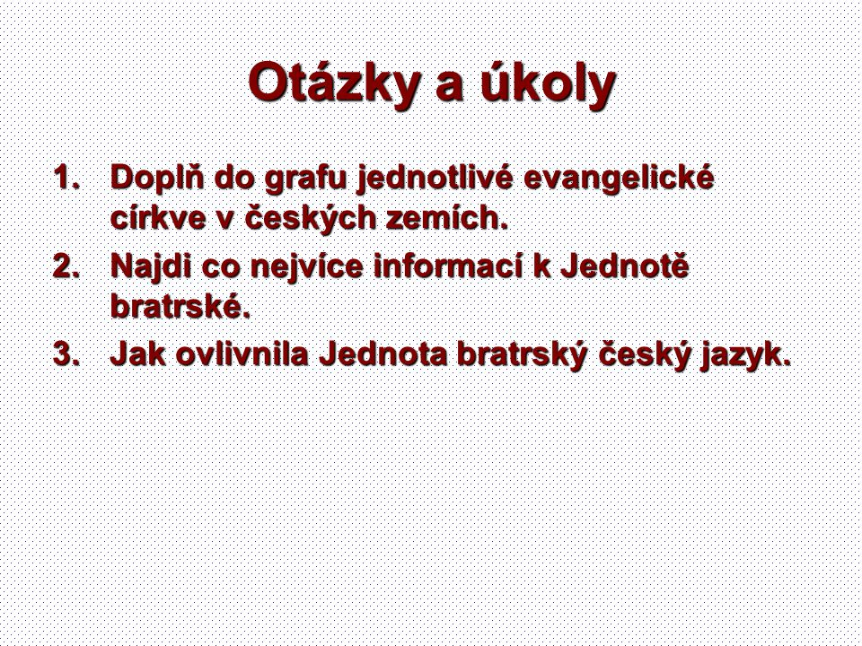 Otázky a úkoly Doplň do grafu jednotlivé evangelické církve v českých zemích. Najdi co nejvíce informací k Jednotě bratrské.