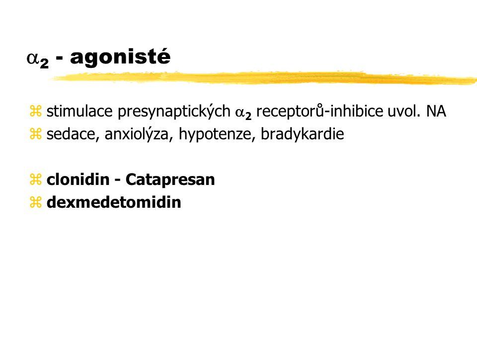 2 - agonisté stimulace presynaptických 2 receptorů-inhibice uvol. NA