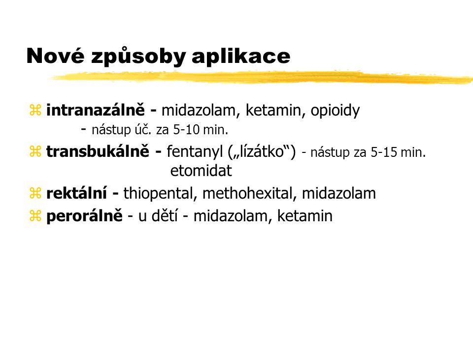 Nové způsoby aplikace intranazálně - midazolam, ketamin, opioidy - nástup úč. za 5-10 min.