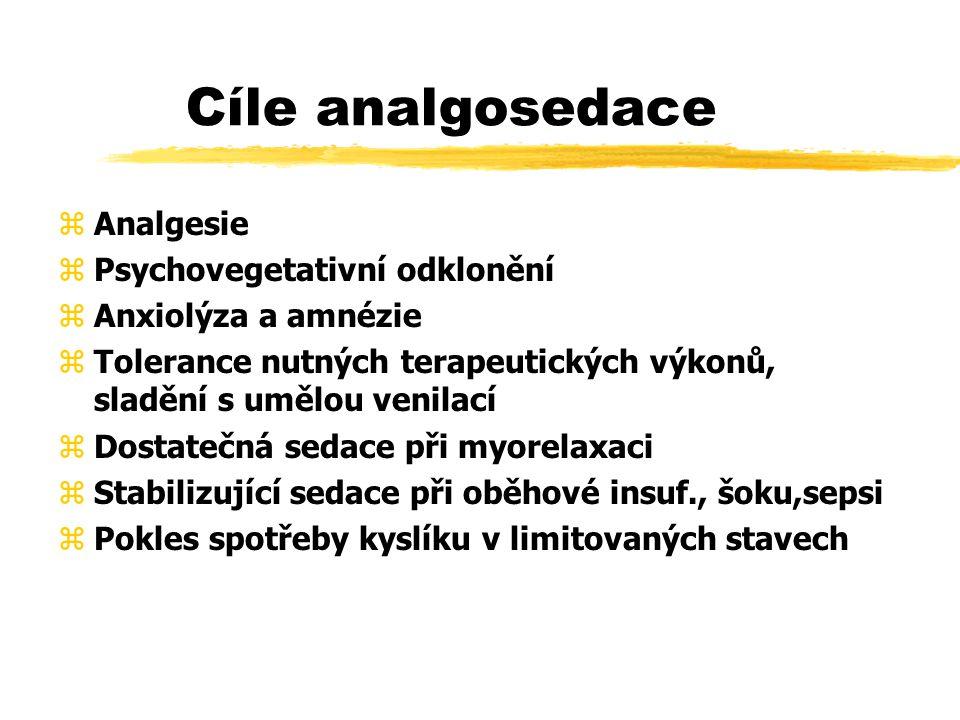 Cíle analgosedace Analgesie Psychovegetativní odklonění