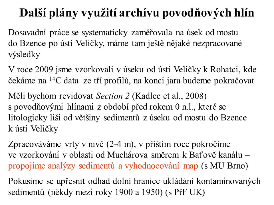 Další plány využití archívu povodňových hlín