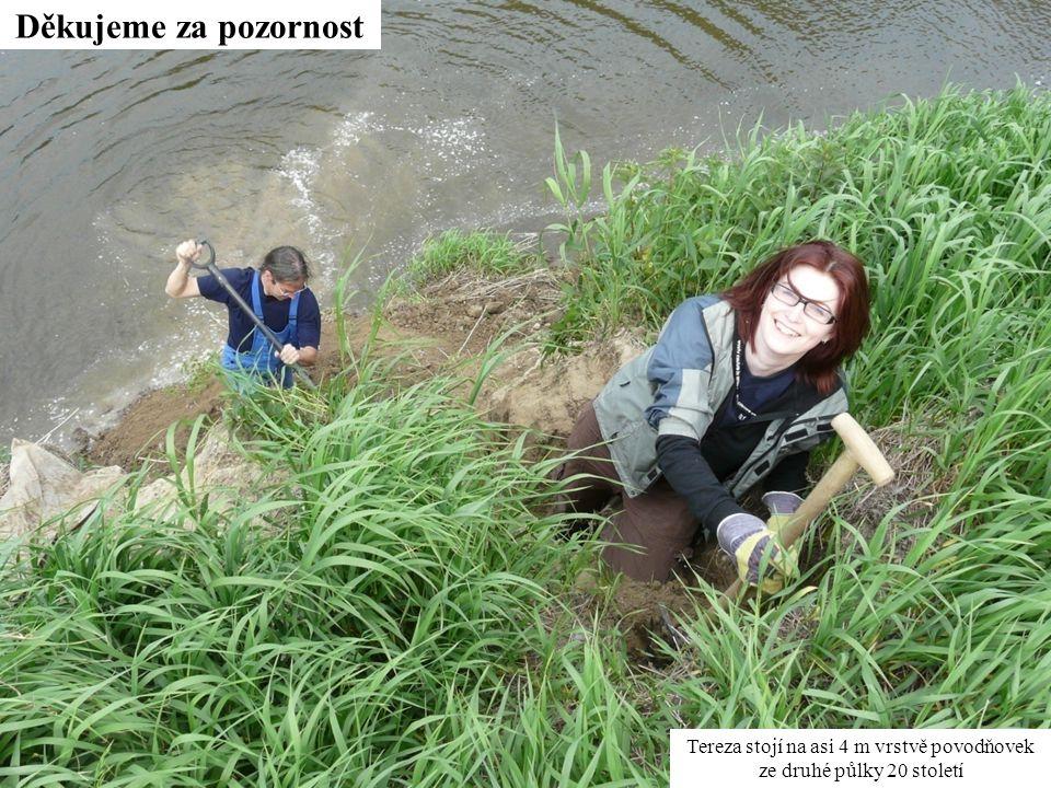 Tereza stojí na asi 4 m vrstvě povodňovek ze druhé půlky 20 století