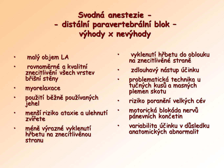Svodná anestezie - - distální paravertebrální blok – výhody x nevýhody