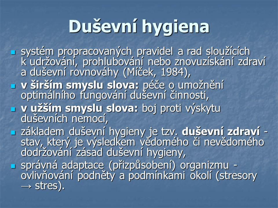Duševní hygiena systém propracovaných pravidel a rad sloužících k udržování, prohlubování nebo znovuzískání zdraví a duševní rovnováhy (Míček, 1984),