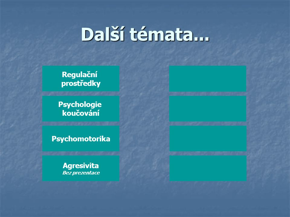 Další témata... Regulační prostředky Psychologie koučování