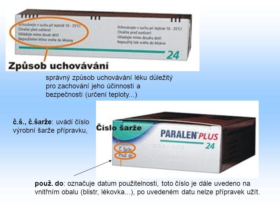 správný způsob uchovávání léku důležitý pro zachování jeho účinnosti a bezpečnosti (určení teploty...)