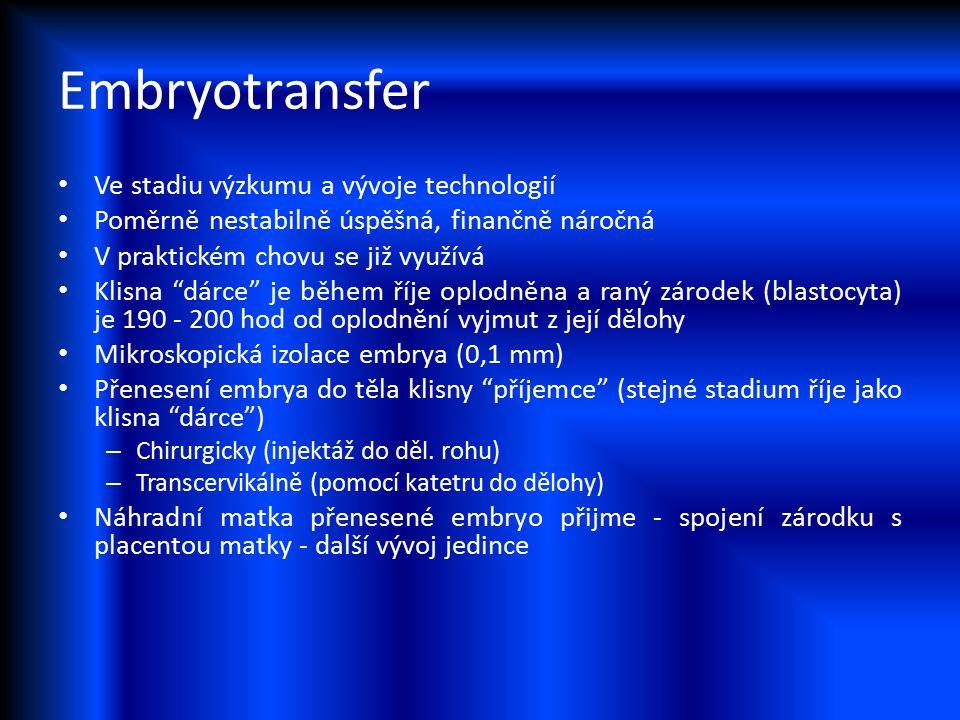 Embryotransfer Ve stadiu výzkumu a vývoje technologií