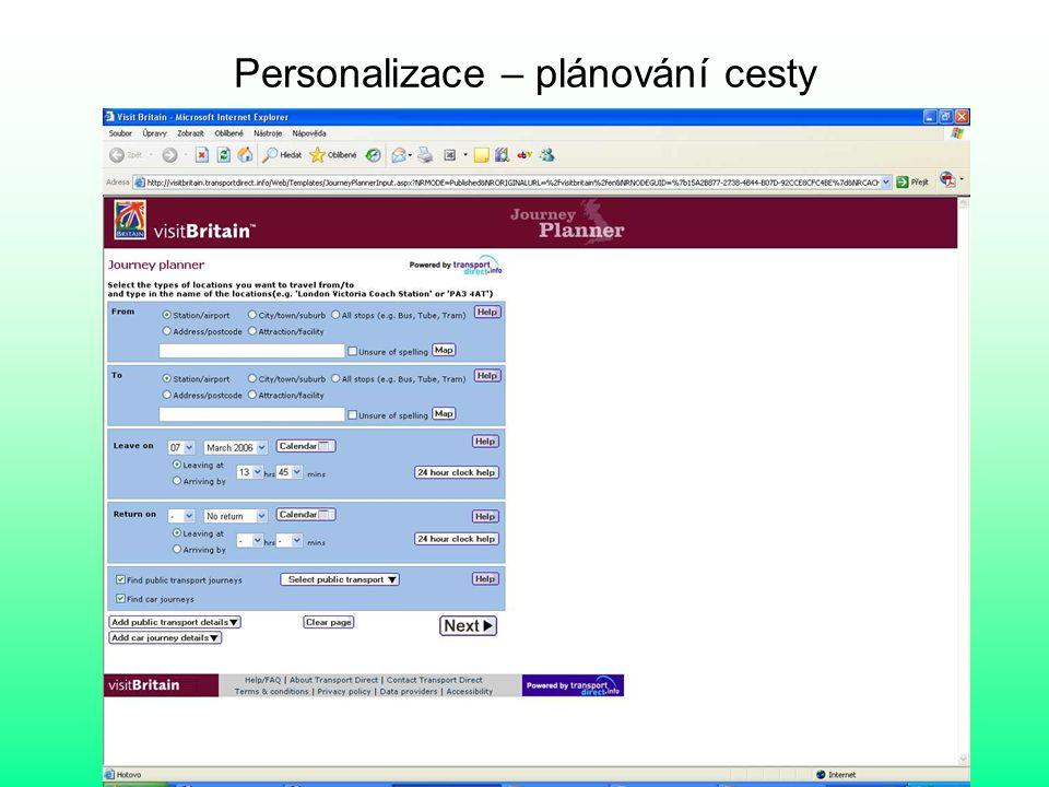 Personalizace – plánování cesty