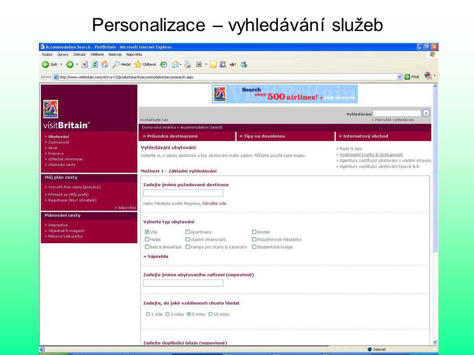 Personalizace – vyhledávání služeb