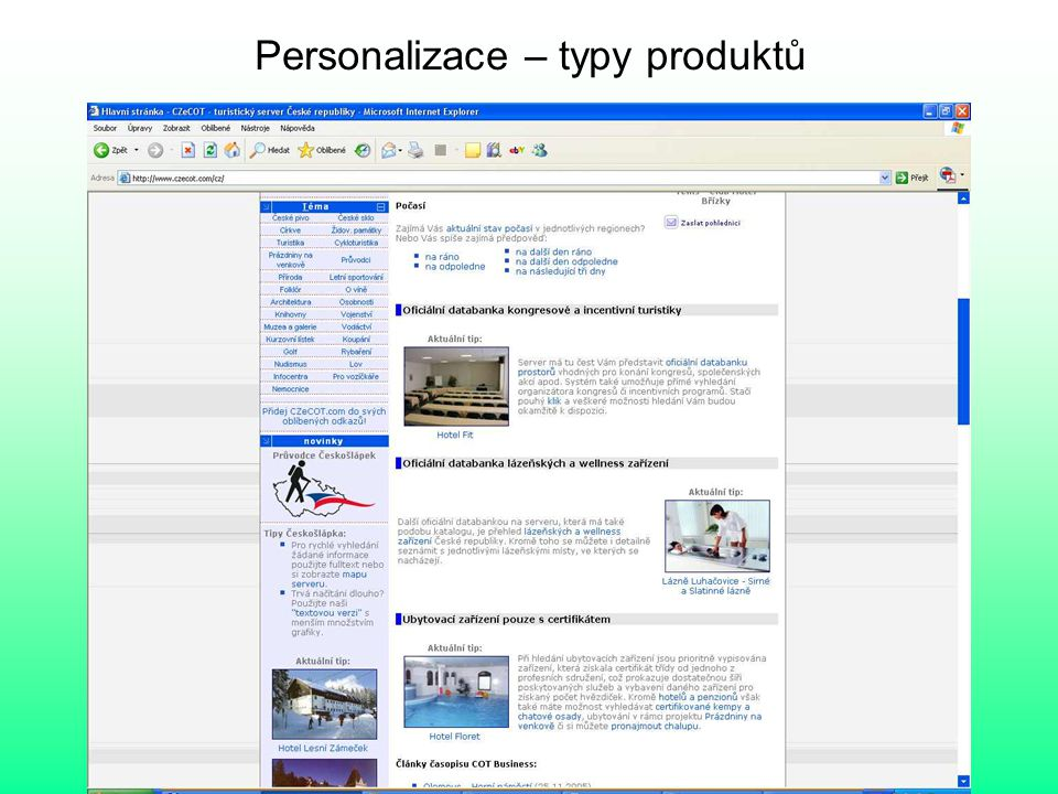 Personalizace – typy produktů