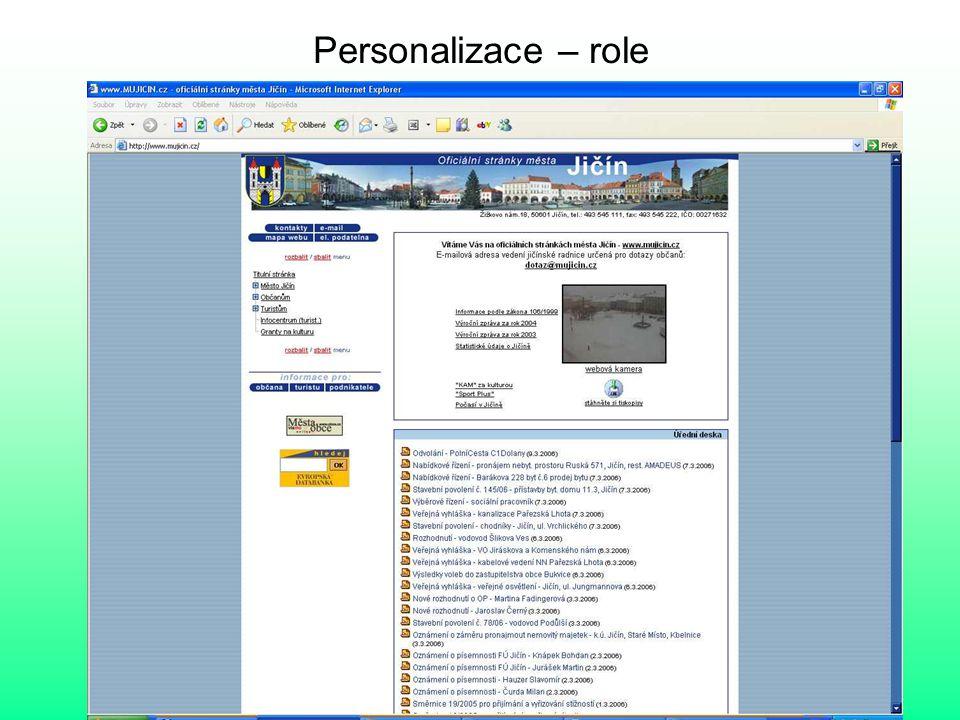 Personalizace – role