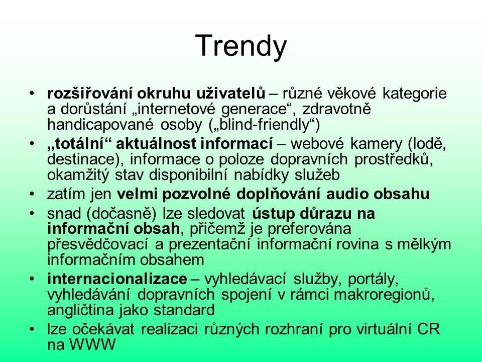 """Trendy rozšiřování okruhu uživatelů – různé věkové kategorie a dorůstání """"internetové generace , zdravotně handicapované osoby (""""blind-friendly )"""