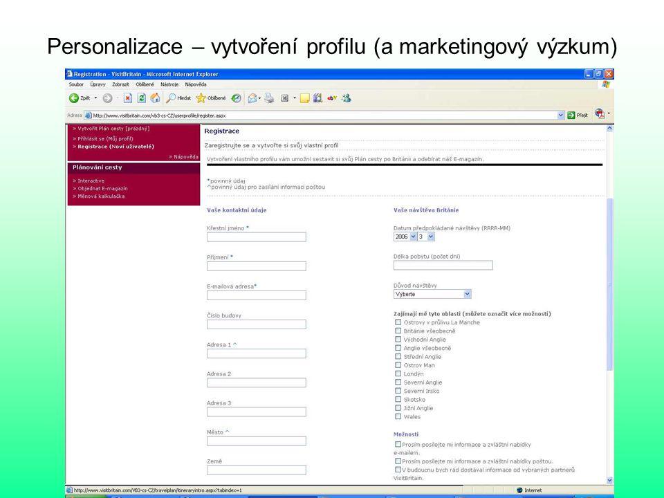 Personalizace – vytvoření profilu (a marketingový výzkum)