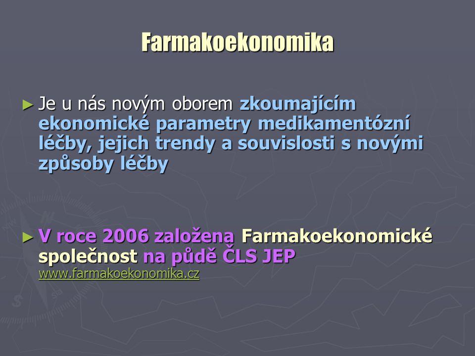 Farmakoekonomika Je u nás novým oborem zkoumajícím ekonomické parametry medikamentózní léčby, jejich trendy a souvislosti s novými způsoby léčby.