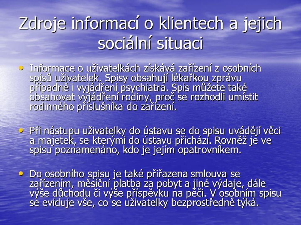 Zdroje informací o klientech a jejich sociální situaci