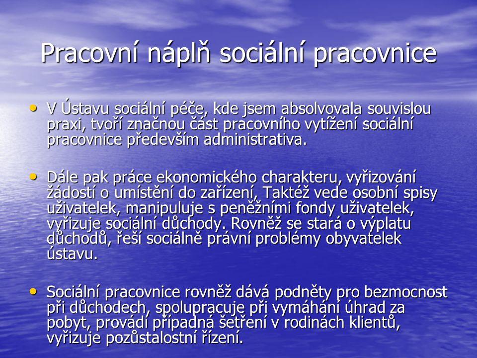 Pracovní náplň sociální pracovnice