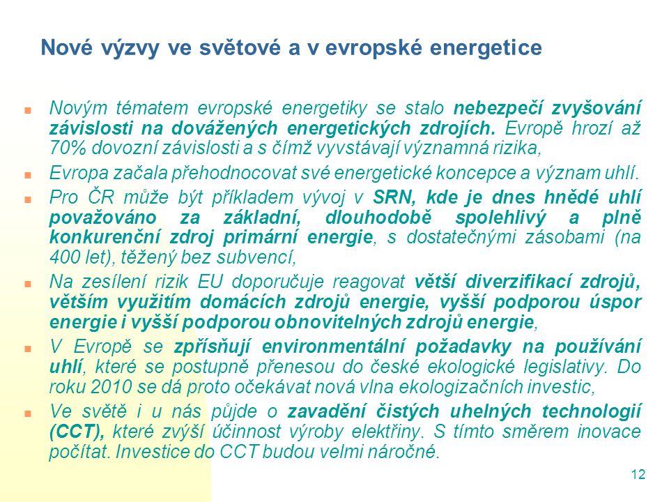 Nové výzvy ve světové a v evropské energetice