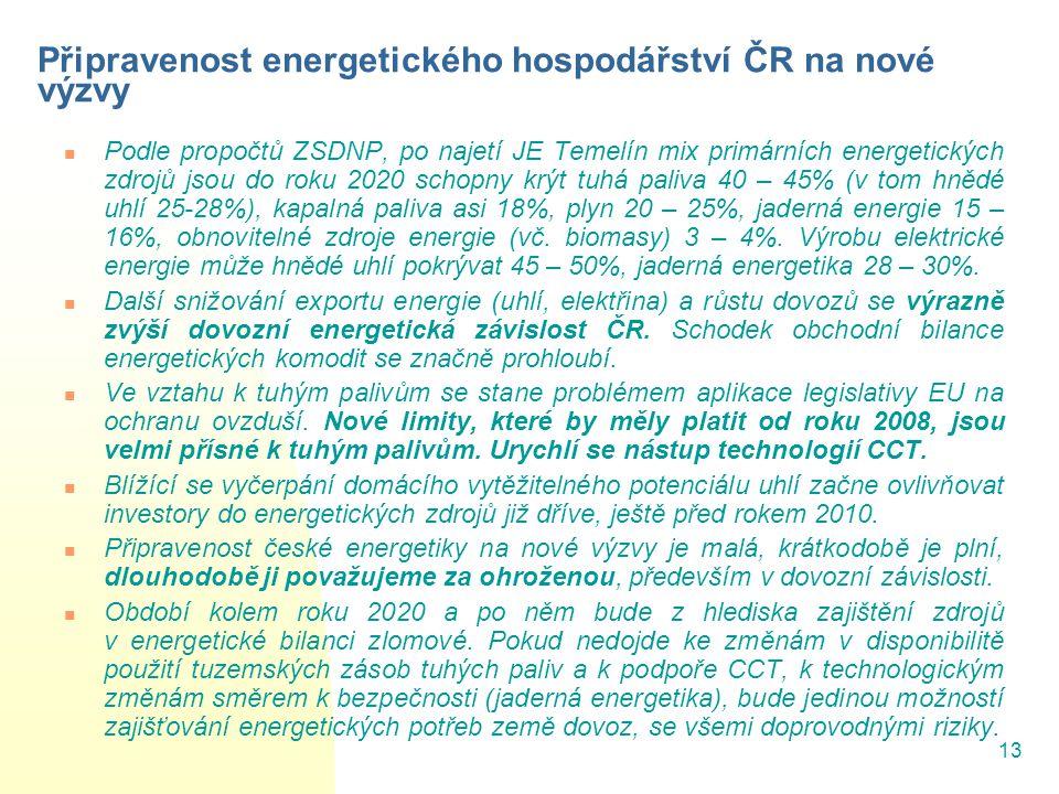 Připravenost energetického hospodářství ČR na nové výzvy