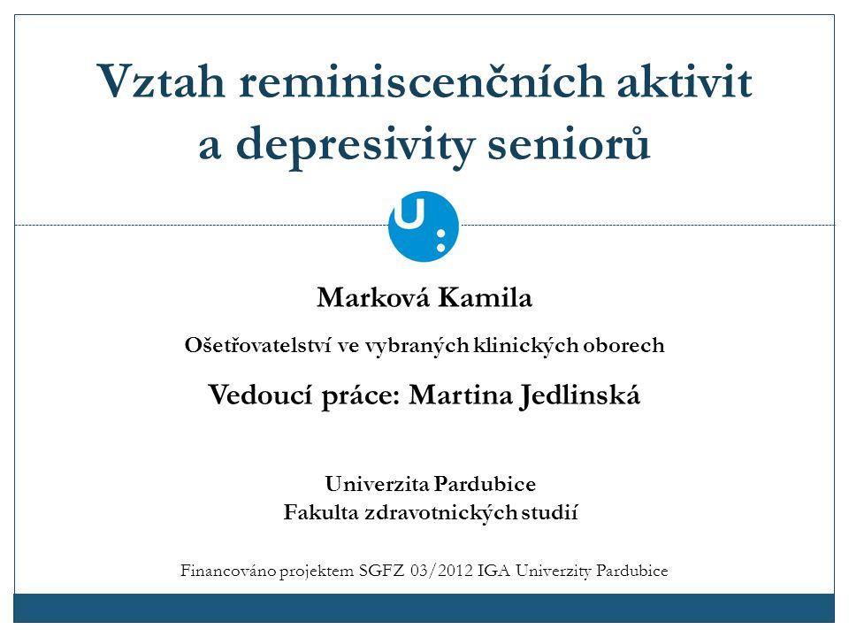 Vztah reminiscenčních aktivit a depresivity seniorů