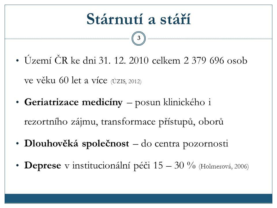 Stárnutí a stáří Území ČR ke dni 31. 12. 2010 celkem 2 379 696 osob ve věku 60 let a více (ÚZIS, 2012)