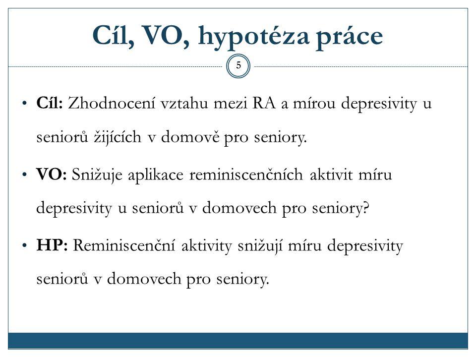 Cíl, VO, hypotéza práce Cíl: Zhodnocení vztahu mezi RA a mírou depresivity u seniorů žijících v domově pro seniory.