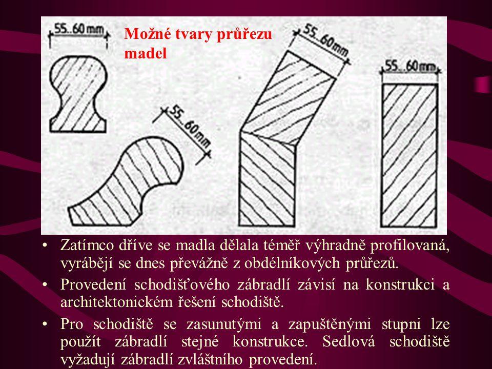 Schodišťová zábradlí Možné tvary průřezu madel