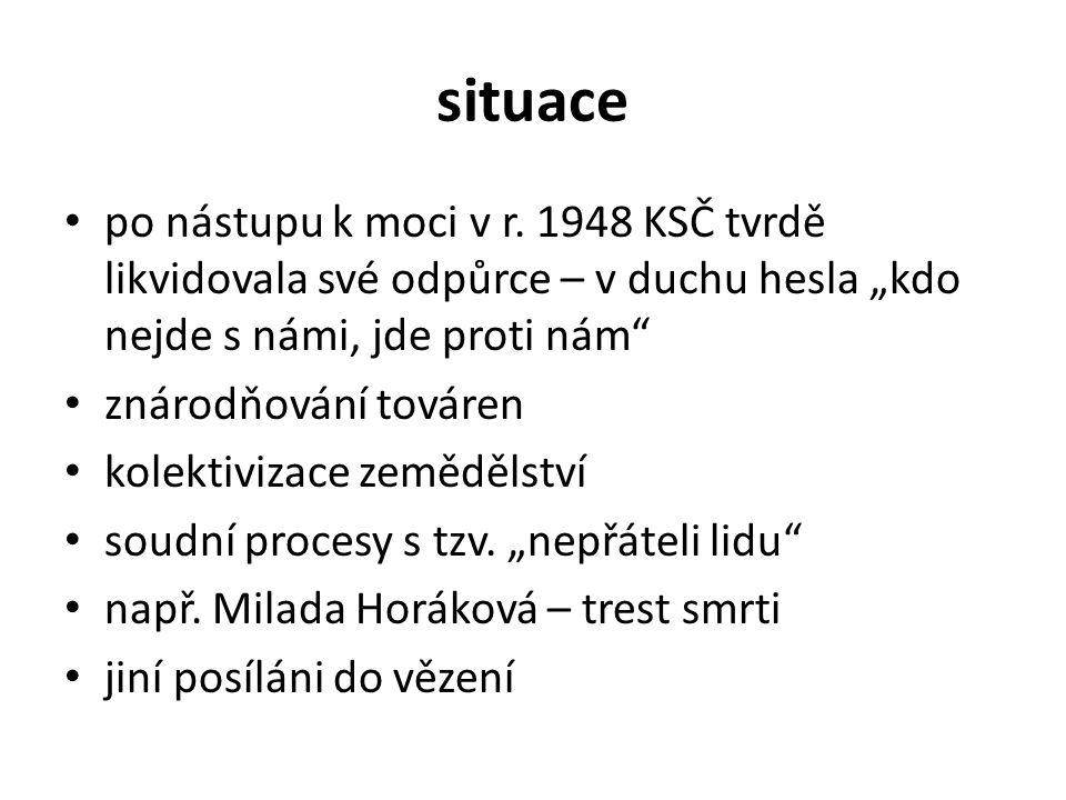 """situace po nástupu k moci v r. 1948 KSČ tvrdě likvidovala své odpůrce – v duchu hesla """"kdo nejde s námi, jde proti nám"""